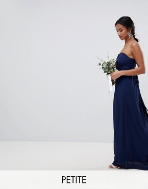 photo Bandeau Maxi Bridesmaid Dress by TFNC Petite, color Navy - Image 1