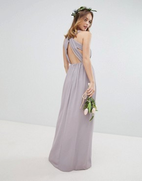 photo Pleated Maxi Bridesmaid Dress with Back Detail by TFNC Petite, color Grey - Image 2