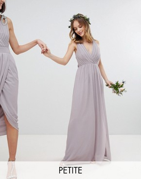 photo Pleated Maxi Bridesmaid Dress with Back Detail by TFNC Petite, color Grey - Image 1