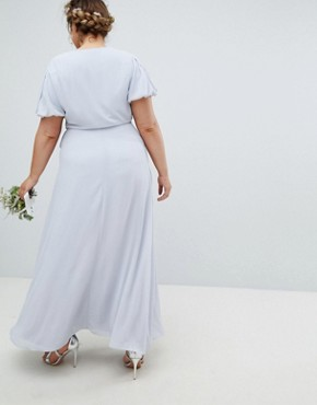 photo Wrap Maxi Bridesmaid Dress with Tie Detail and Puff Sleeves by TFNC Plus, color Ice - Image 2