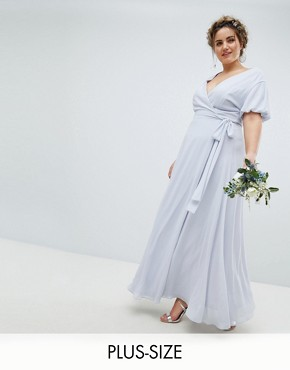 photo Wrap Maxi Bridesmaid Dress with Tie Detail and Puff Sleeves by TFNC Plus, color Ice - Image 1