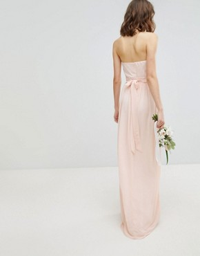 photo Bandeau Maxi Bridesmaid Dress by TFNC Tall, color Nude - Image 2