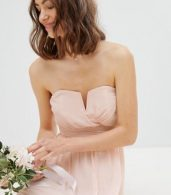 photo Bandeau Maxi Bridesmaid Dress by TFNC Tall, color Nude - Image 3