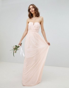 photo Bandeau Maxi Bridesmaid Dress by TFNC Tall, color Nude - Image 4