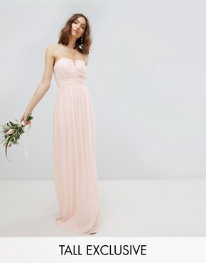 photo Bandeau Maxi Bridesmaid Dress by TFNC Tall, color Nude - Image 1