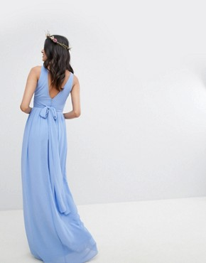 photo Wrap Front Maxi Bridesmaid Dress with Tie Back by TFNC Tall, color Bluebell - Image 2