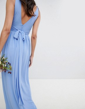 photo Wrap Front Maxi Bridesmaid Dress with Tie Back by TFNC Tall, color Bluebell - Image 3
