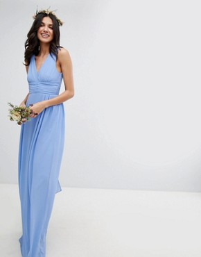 photo Wrap Front Maxi Bridesmaid Dress with Tie Back by TFNC Tall, color Bluebell - Image 4