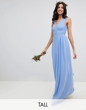 photo Wrap Front Maxi Bridesmaid Dress with Tie Back by TFNC Tall, color Bluebell - Image 1