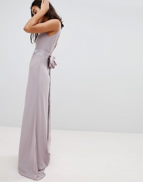 photo Sateen Bow Back Maxi Bridesmaid Dress by TFNC Petite, color Grey - Image 2