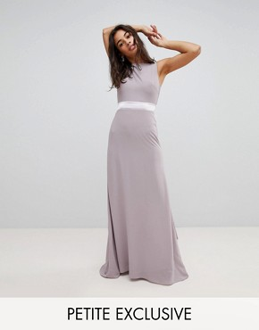 photo Sateen Bow Back Maxi Bridesmaid Dress by TFNC Petite, color Grey - Image 1