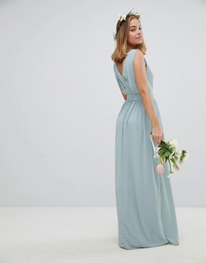 photo Wrap Front Maxi Bridesmaid Dress with Embellishment by TFNC Petite, color Green Lily - Image 2