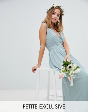 photo Wrap Front Maxi Bridesmaid Dress with Embellishment by TFNC Petite, color Green Lily - Image 1