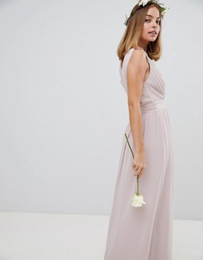 photo Wrap Front Maxi Bridesmaid Dress with Embellished Shoulder by TFNC Petite, color Mink - Image 2