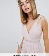 photo Wrap Front Maxi Bridesmaid Dress with Embellished Shoulder by TFNC Petite, color Mink - Image 1