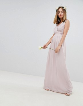 photo Wrap Front Maxi Bridesmaid Dress with Embellished Shoulder by TFNC Petite, color Mink - Image 3