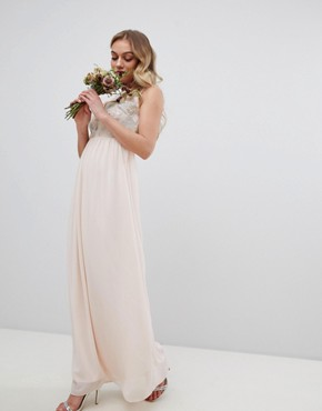 photo Maxi Bridesmaid Dress with Soft Floral Sequin Top by TFNC Petite, color Nude - Image 4