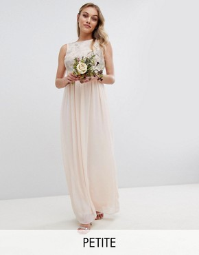 photo Maxi Bridesmaid Dress with Soft Floral Sequin Top by TFNC Petite, color Nude - Image 1