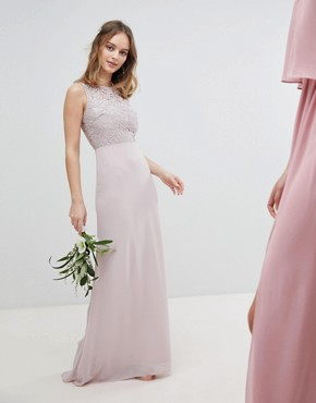 photo Lace Up Back Maxi Bridesmaid Dress by TFNC Petite, color Mink - Image 2