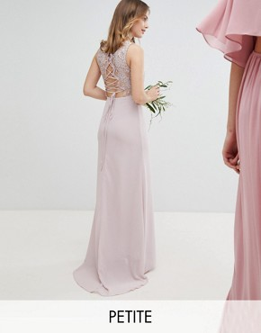photo Lace Up Back Maxi Bridesmaid Dress by TFNC Petite, color Mink - Image 1