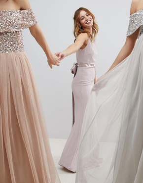 photo Sateen Bow Back Maxi Bridesmaid Dress by TFNC Petite, color Mink - Image 2
