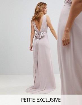 photo Sateen Bow Back Maxi Bridesmaid Dress by TFNC Petite, color Mink - Image 1