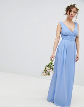 photo Wrap Front Maxi Bridesmaid Dress with Tie Back by TFNC Petite, color Bluebell - Image 2