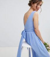 photo Wrap Front Maxi Bridesmaid Dress with Tie Back by TFNC Petite, color Bluebell - Image 3