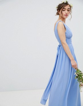 photo Wrap Front Maxi Bridesmaid Dress with Tie Back by TFNC Petite, color Bluebell - Image 4