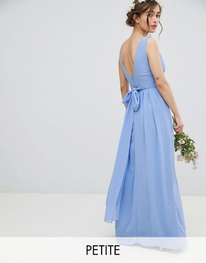 photo Wrap Front Maxi Bridesmaid Dress with Tie Back by TFNC Petite, color Bluebell - Image 1