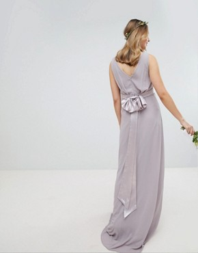 photo Sateen Bow Back Maxi Bridesmaid Dress by TFNC Maternity, color Grey - Image 2