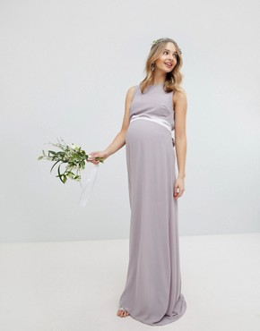 photo Sateen Bow Back Maxi Bridesmaid Dress by TFNC Maternity, color Grey - Image 1