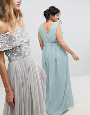 photo Wrap Front Maxi Bridesmaid Dress with Embellishment by TFNC Plus, color Green Lily - Image 2