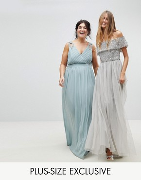photo Wrap Front Maxi Bridesmaid Dress with Embellishment by TFNC Plus, color Green Lily - Image 1