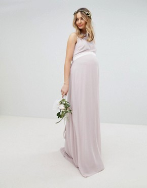 photo Sateen Bow Back Maxi Bridesmaid Dress by TFNC Maternity, color Mink - Image 1