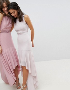 photo Maxi Bridesmaid Dress with High Low Hem by TFNC Petite, color Mink - Image 2