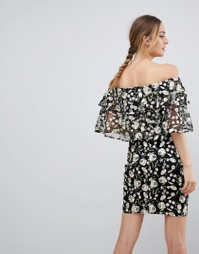 photo Allover Embroidered Layered Mini Dress by Dolly & Delicious Tall, color Multi - Image 2