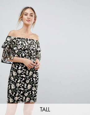 photo Allover Embroidered Layered Mini Dress by Dolly & Delicious Tall, color Multi - Image 1