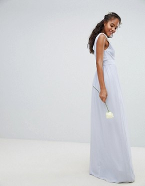 photo Wrap Front Maxi Bridesmaid Dress with Embellished Shoulder by TFNC Tall, color Ice - Image 2