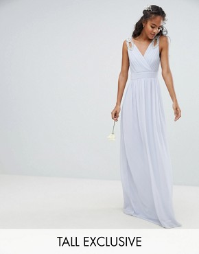 photo Wrap Front Maxi Bridesmaid Dress with Embellished Shoulder by TFNC Tall, color Ice - Image 1