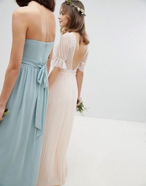 photo Pleated Maxi Bridesmaid Dress with Spot Mesh Frill Detail by TFNC Petite, color Nude - Image 4