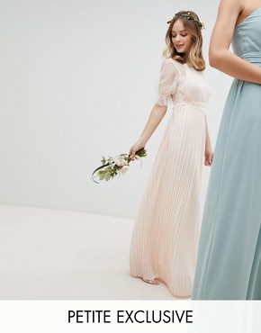 photo Pleated Maxi Bridesmaid Dress with Spot Mesh Frill Detail by TFNC Petite, color Nude - Image 1