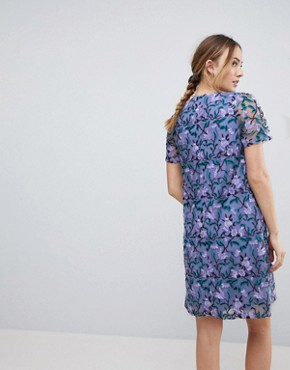 photo Allover Embroidered Aline Shift Dress by Dolly & Delicious Tall, color Purple Multi - Image 2