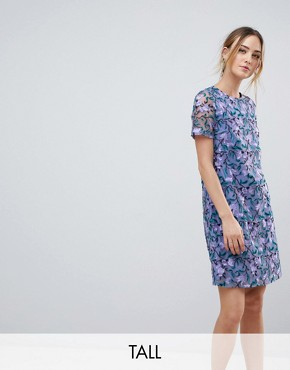 photo Allover Embroidered Aline Shift Dress by Dolly & Delicious Tall, color Purple Multi - Image 1