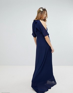 photo High Neck Maxi Bridesmaid Dress with Fishtail by TFNC Maternity, color Navy - Image 2