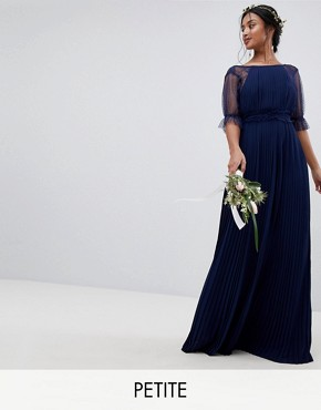 photo Pleated Maxi Bridesmaid Dress with Spot Mesh Frill Detail by TFNC Petite, color Navy - Image 1