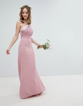 photo Bow Back Pleated Maxi Bridesmaid Dress by TFNC Petite, color Vintage Rose - Image 2