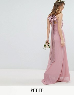 photo Bow Back Pleated Maxi Bridesmaid Dress by TFNC Petite, color Vintage Rose - Image 1