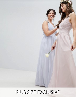 photo Wrap Front Maxi Bridesmaid Dress with Embellishment by TFNC Plus, color Ice - Image 1