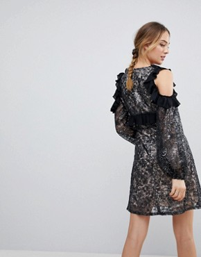 photo Allover Embroidered Cold Shoulder Skater Dress with Bell Sleeve by Dolly & Delicious Tall, color Black Multi - Image 2